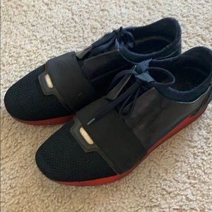Balenciaga Navy/Red Race Runner Sneakers Size 42